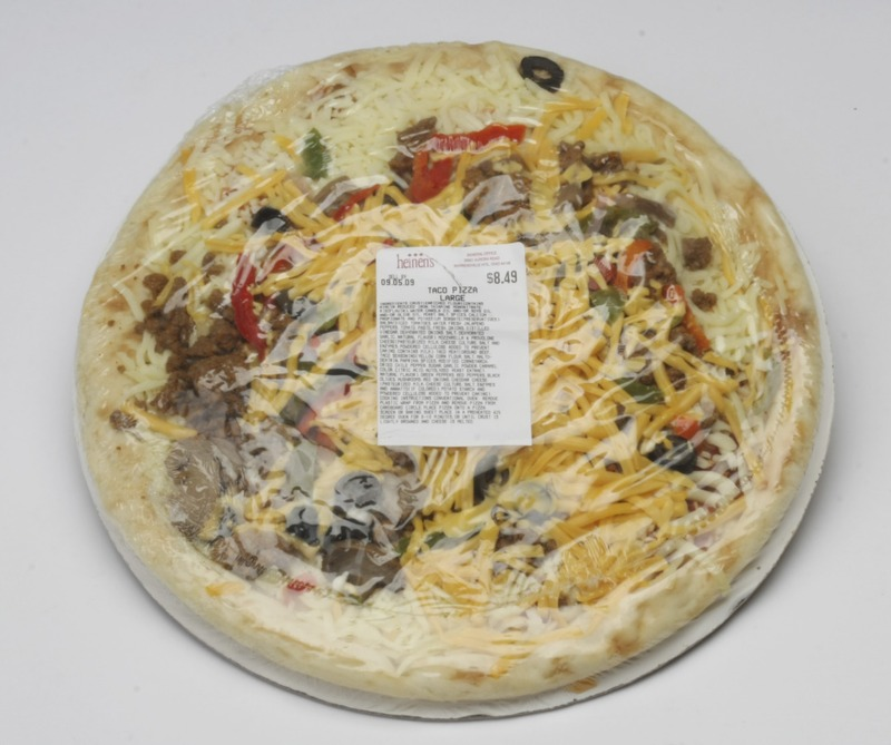 shrink wrapped pizza